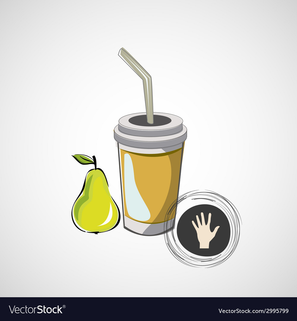 Sketch paper cup with straw and pear vector | Price: 1 Credit (USD $1)