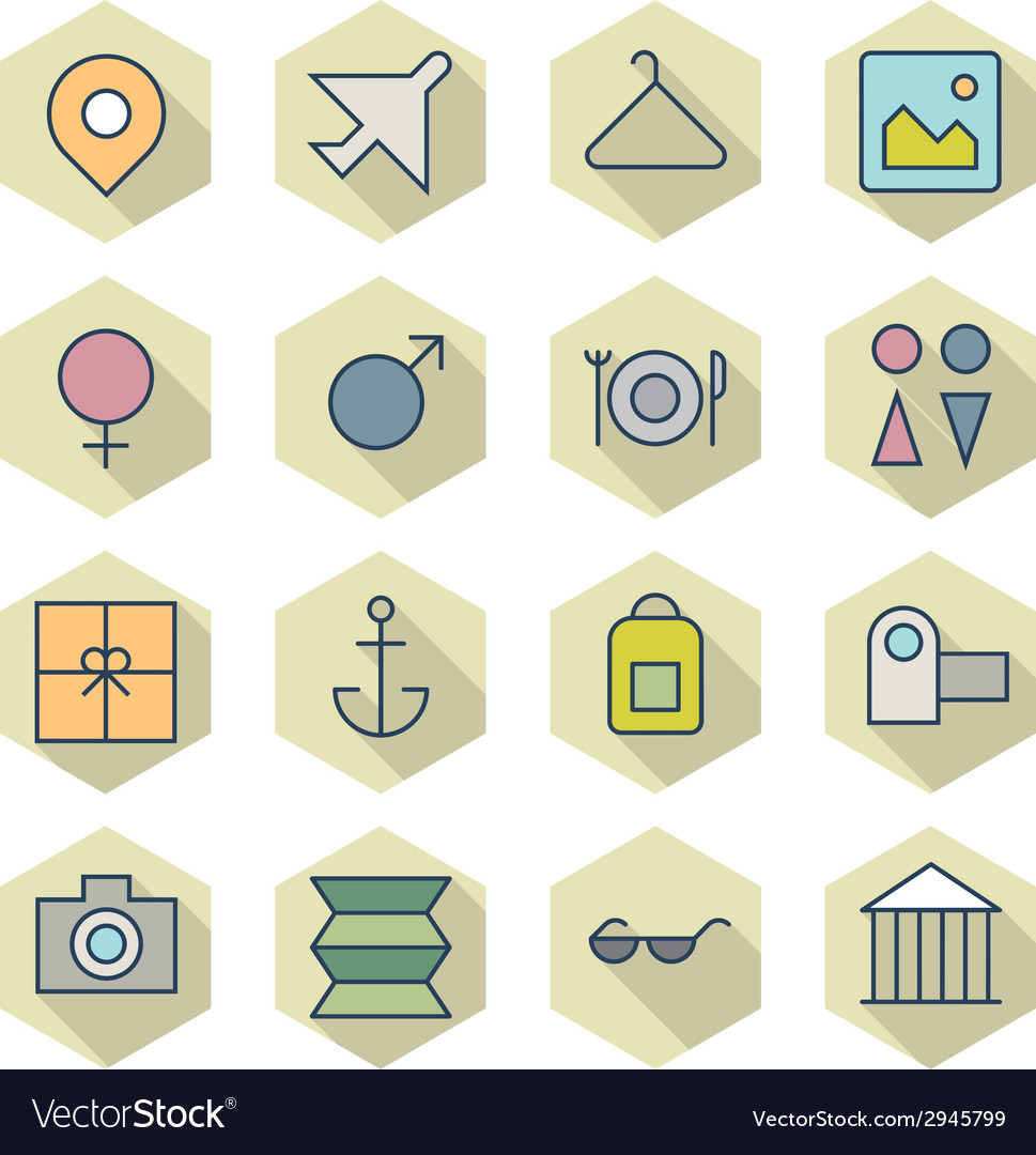 Thin line icons for travel and resort vector | Price: 1 Credit (USD $1)