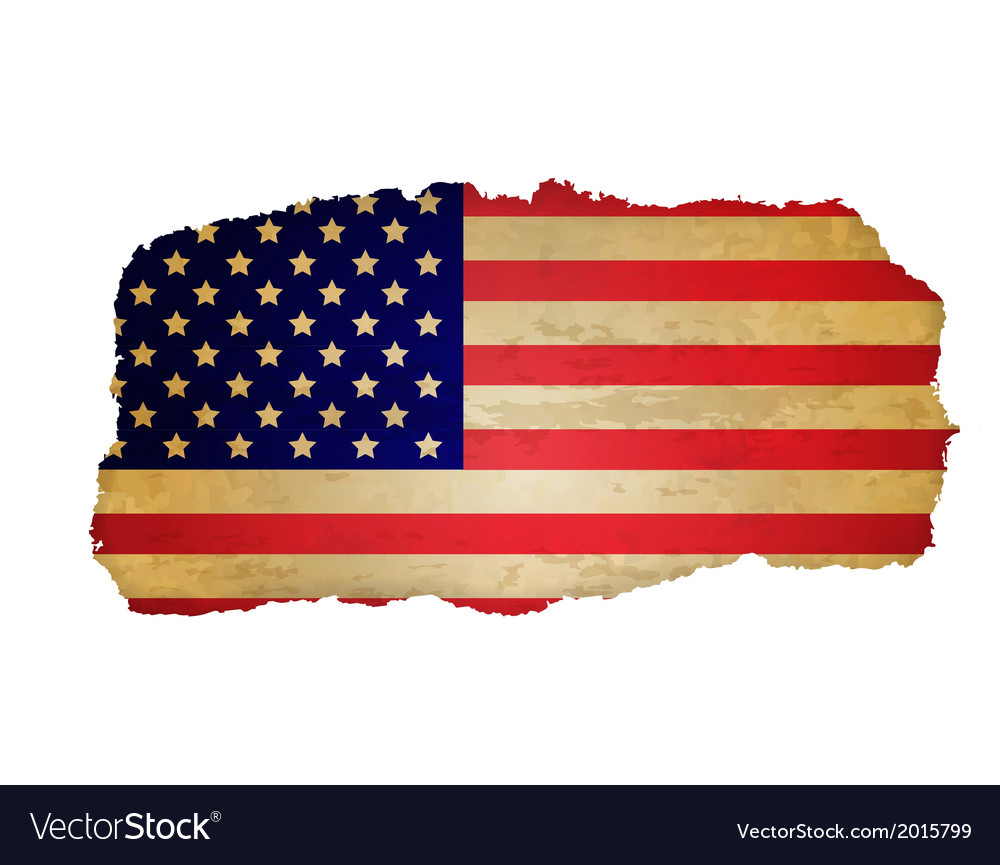 Usa flag with rip paper vector