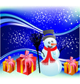 New years snowman with gifts vector