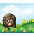 A dark gray bear in the garden vector