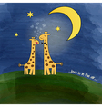 Giraffes in love at night on a meadow vector