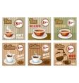 Set of coffee and tea menu card vector