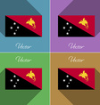 Flags papua new guinea set of colors flat design vector