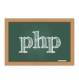 Php text on chalkboard vector
