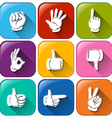 Buttons with different hand signs vector