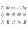 Fruit outline icons set vector