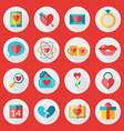 St valentines day flat design icon set love vector
