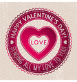 Red valentines stamp with hearts and wishes text vector
