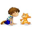 A young boy and his adorable kitten vector