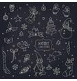 Set of doodle christmas decorations on blackboard vector