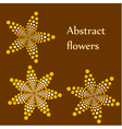 Set of 3 abstract flowers made of dots vector
