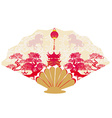 Decorative opened fan with patterns of year of vector