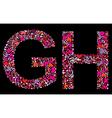Letter g h valentine alphabet vector