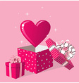 Love gift in box greeting card vector