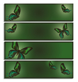 Set of banner with green butterfly vector