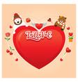 Couple bears with heart shape vector