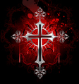 Gothic silver cross vector