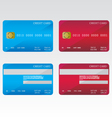 Credit cards blue and red vector