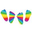 Happy rainbow childrens feet vector