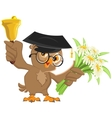 Owl teacher rings the bell and holding flowers vector