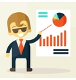 Businessman looking at the graph vector