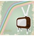 Vintage tv postcard vector