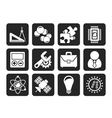 Silhouette science and research icons vector