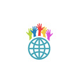 Globe and colorful hands up mockup volunteer vector