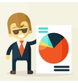 Smiling businesspeople shows good statistics vector