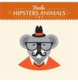 Cute hipster koala in hat reading a book vector