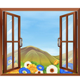A window with fresh flowers outside vector