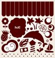 Summer design elements in retro style - brown vector