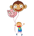 A boy holding two character balloons vector