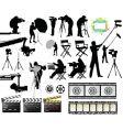 Cameramen and film set equipment vector