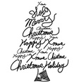 Doodle christmas tree word clouds vector