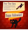 Happy halloween cute retro banner - craft paper vector