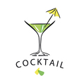 Logo cocktail glass with umbrella vector