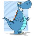 Angry blue dinosaur vector