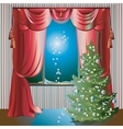 Holiday scene with christmas tree vector