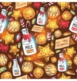 Milk cookies for santa claus seamless pattern vector