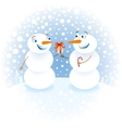 Snowman with gifts congratulating each other happy vector