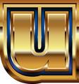 Golden font letter u vector