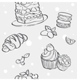 Seamless pattern with cupcakes image croissant and vector