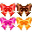 Silk bows in warm colors with golden edging vector