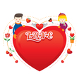 Couple with heart shape vector