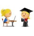 Students computer and diploma vector