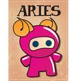 Zodiac sign aries with cute ninja character vector