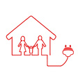 Electrical plug symbol with family house vector