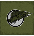 Grunge vintage sport label with wings vector